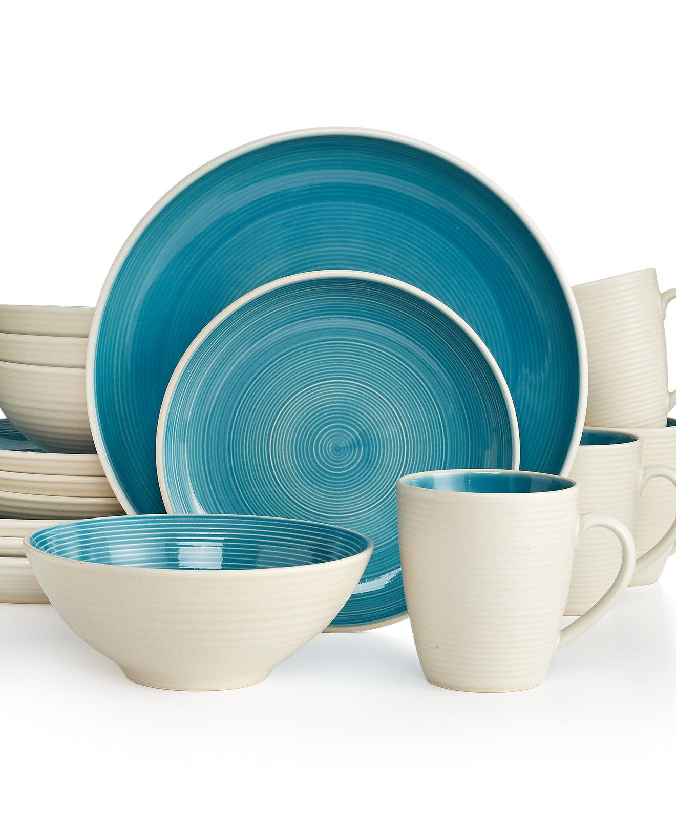 Sango Riva Teal 16-Pc. Set, Service for 4 - Casual Dinnerware ...