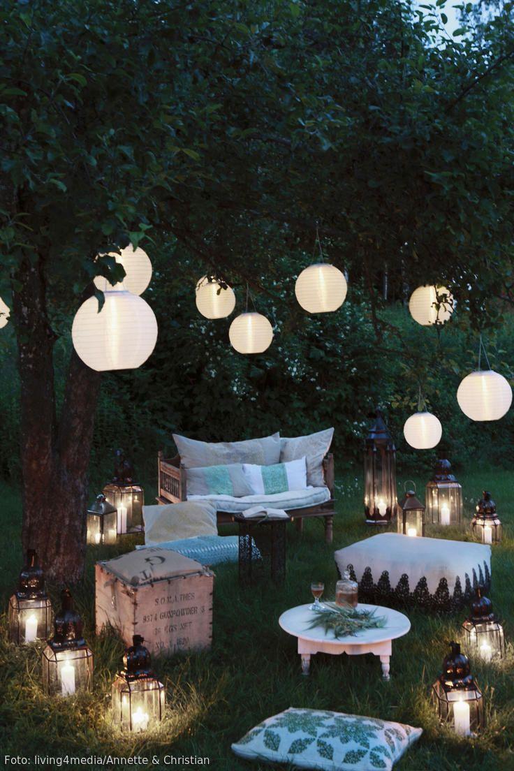 lampion laterne lichterkette die sch nste beleuchtung f r den garten garten pinterest. Black Bedroom Furniture Sets. Home Design Ideas