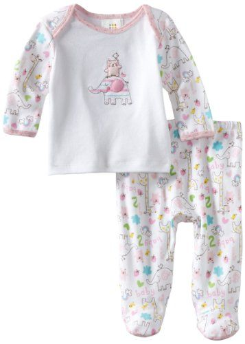 a579e81851e0 ABSORBA Baby-Girls Newborn Two Piece Footed Pant Set  Amazon.com ...