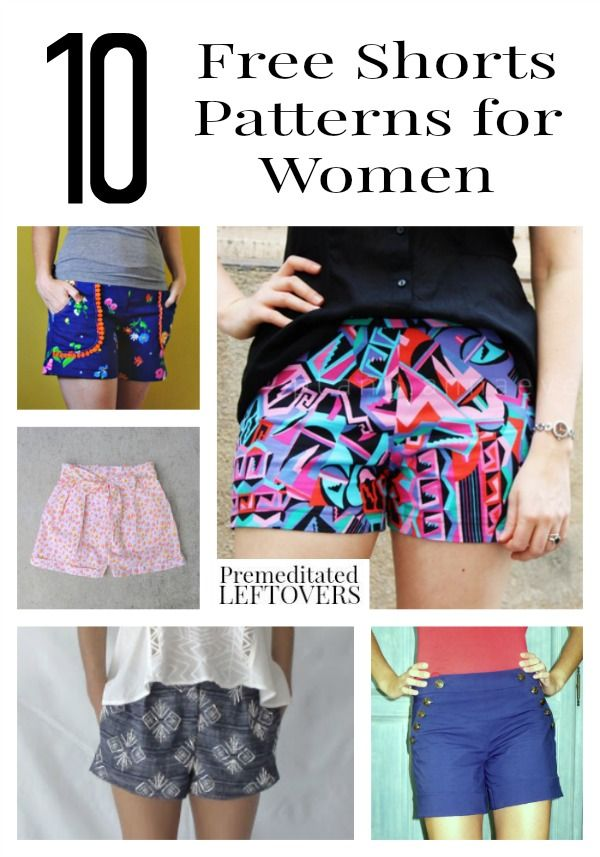 9afa4867a7ab 10 Free Shorts Patterns for Women, including how to make cut off shorts, pleated  shorts patterns, high waisted shorts patterns and no pattern tutorials.