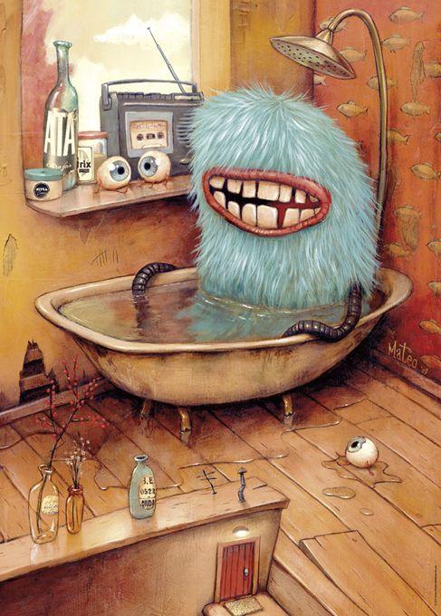 HEYE 1000 Bathtub Zozoville, Monster illustration