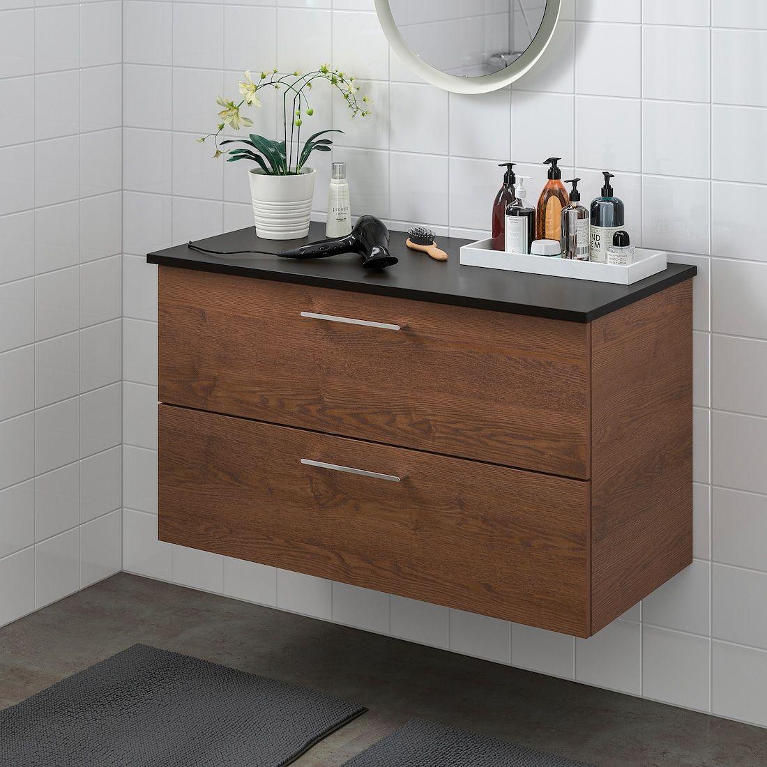 Godmorgon Tolken Meuble Lavabo 2tir Motif Frene Effet Brun Moyen Anthracite 102x49x60 Cm Ikea Sink Cabinet Ikea Godmorgon Ikea