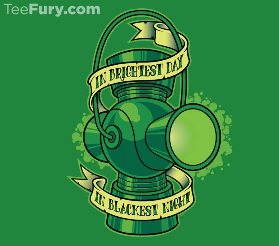 """""""In Brightest Day"""" by nakedderby. """"In brightest day, in blackest night."""" Green Lantern tattoo style design. [Sold at TeeFury]"""