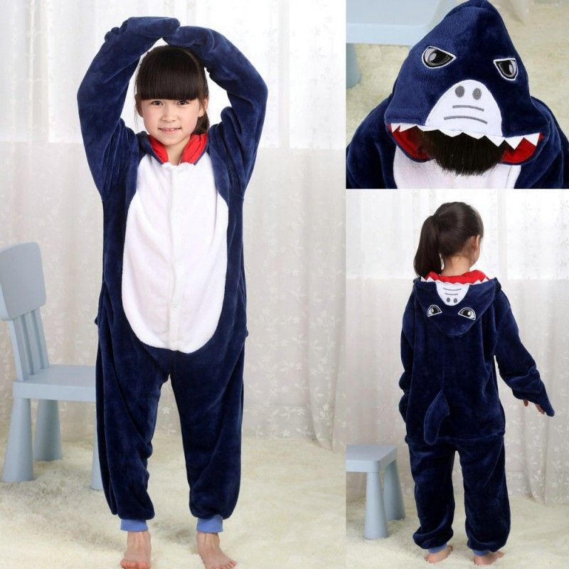 Blue Shark Kigurumi Pajamas Onesies Kids Flannel Warm Animal Hoodie ... 9cd211f4316ec