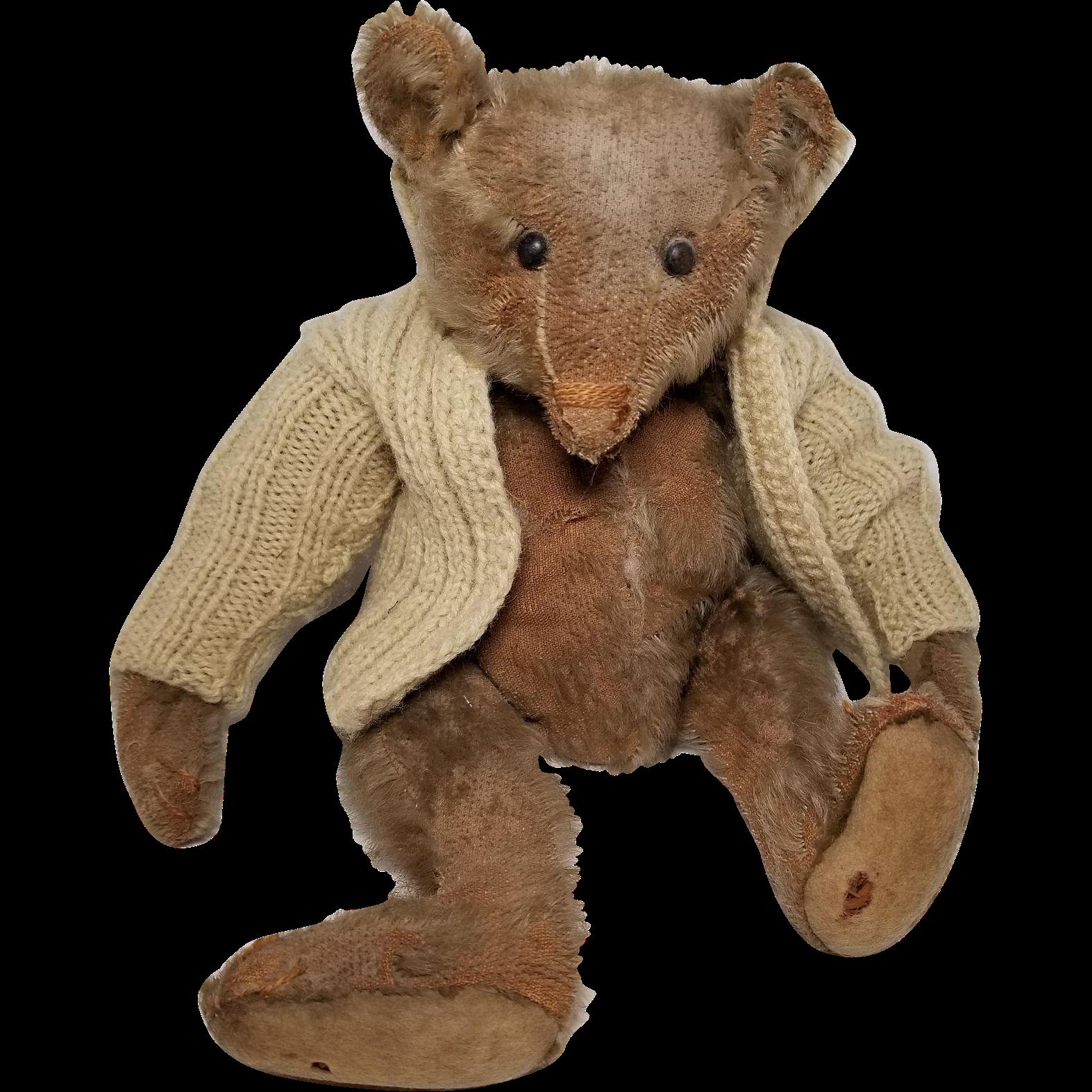 Old Teddy Bear Mohair Wonderful Face Jointed Glass Eyes 12 34 Tall Cabinet Old Teddy Bears Antique Teddy Bears Teddy Bear
