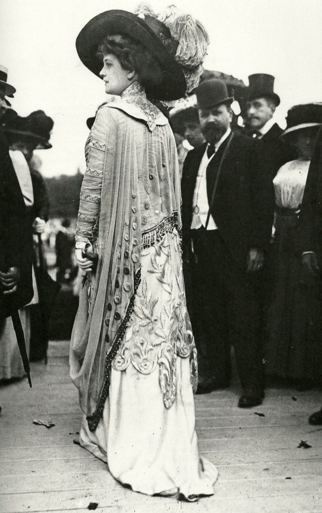 A fashionable woman at the races in 1909. Scanned from the ...