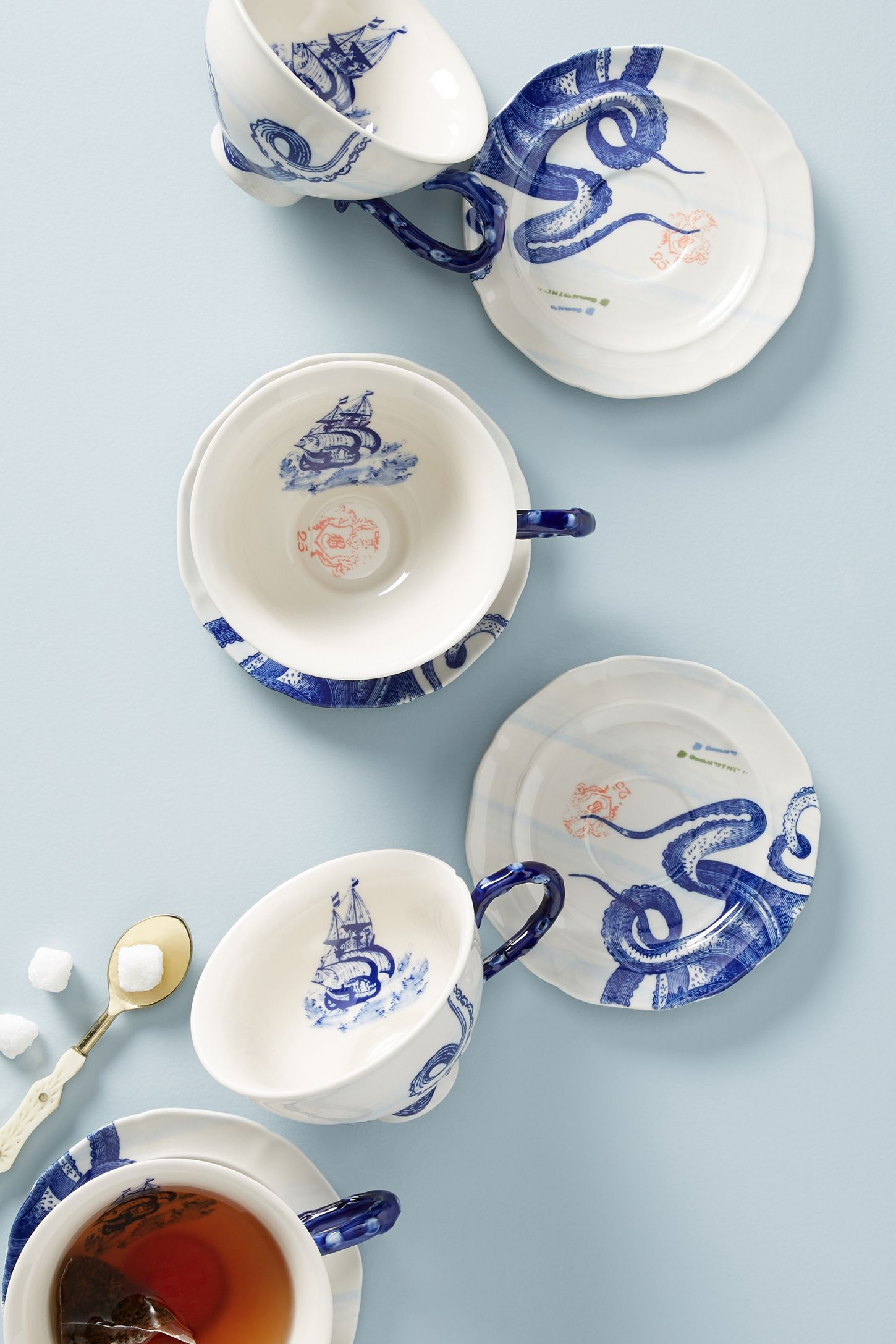 From The Deep Cups & Saucers, Set of 4 Tea cups