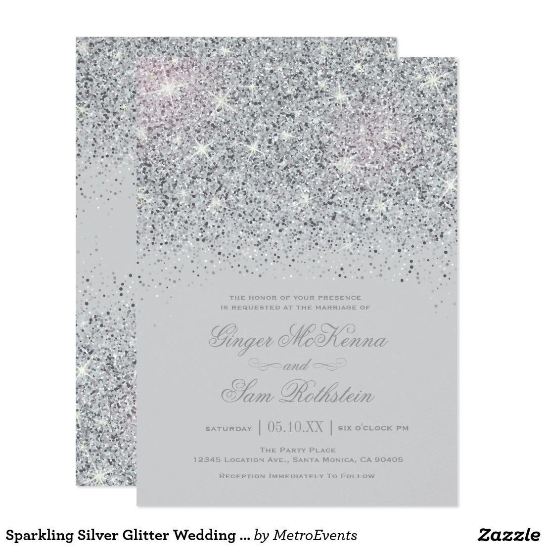 Sparkling Silver Glitter Wedding Invitations Zazzle Com Silver Wedding Invitations Silver Glitter Wedding Invitations Silver Glitter Wedding