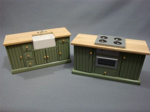 Hobby Lobby Mayberry Street 2 Pc Kitchen Set Stove, Island Dollhouse MINI //