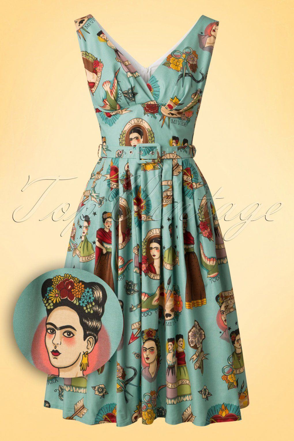 Exclusive ~ 50s Ti Amo Frida Kahlo Frock Swing Dress in Vintage Blue ...