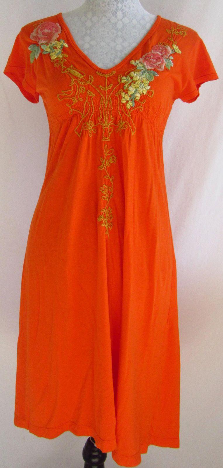 JOHNNY WAS JWLA M Orange Embroidered Floral Love Print Modal Blnd Dress