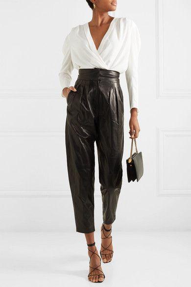 IRO - Batcha wrap-effect chiffon blouse #leatherpantsoutfit