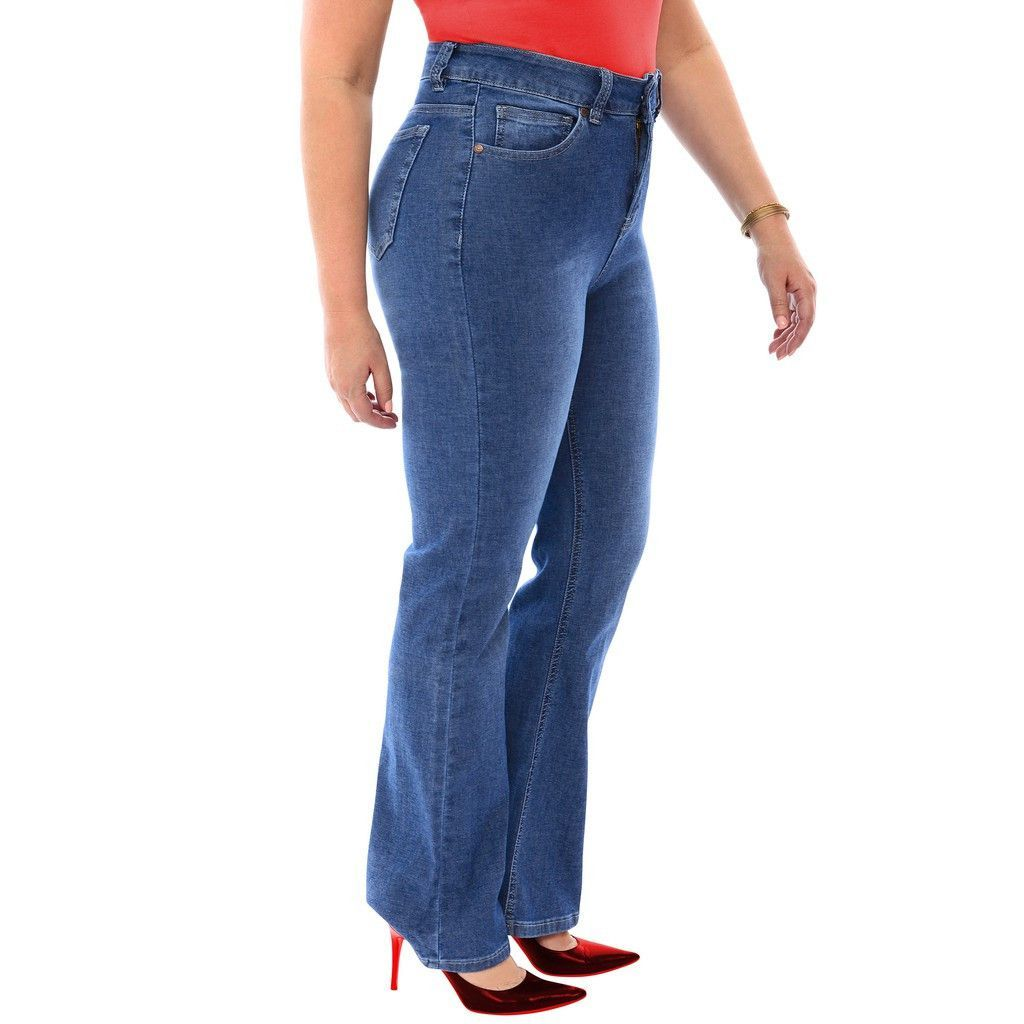 stretch high rise straight denim jeans in medium stone