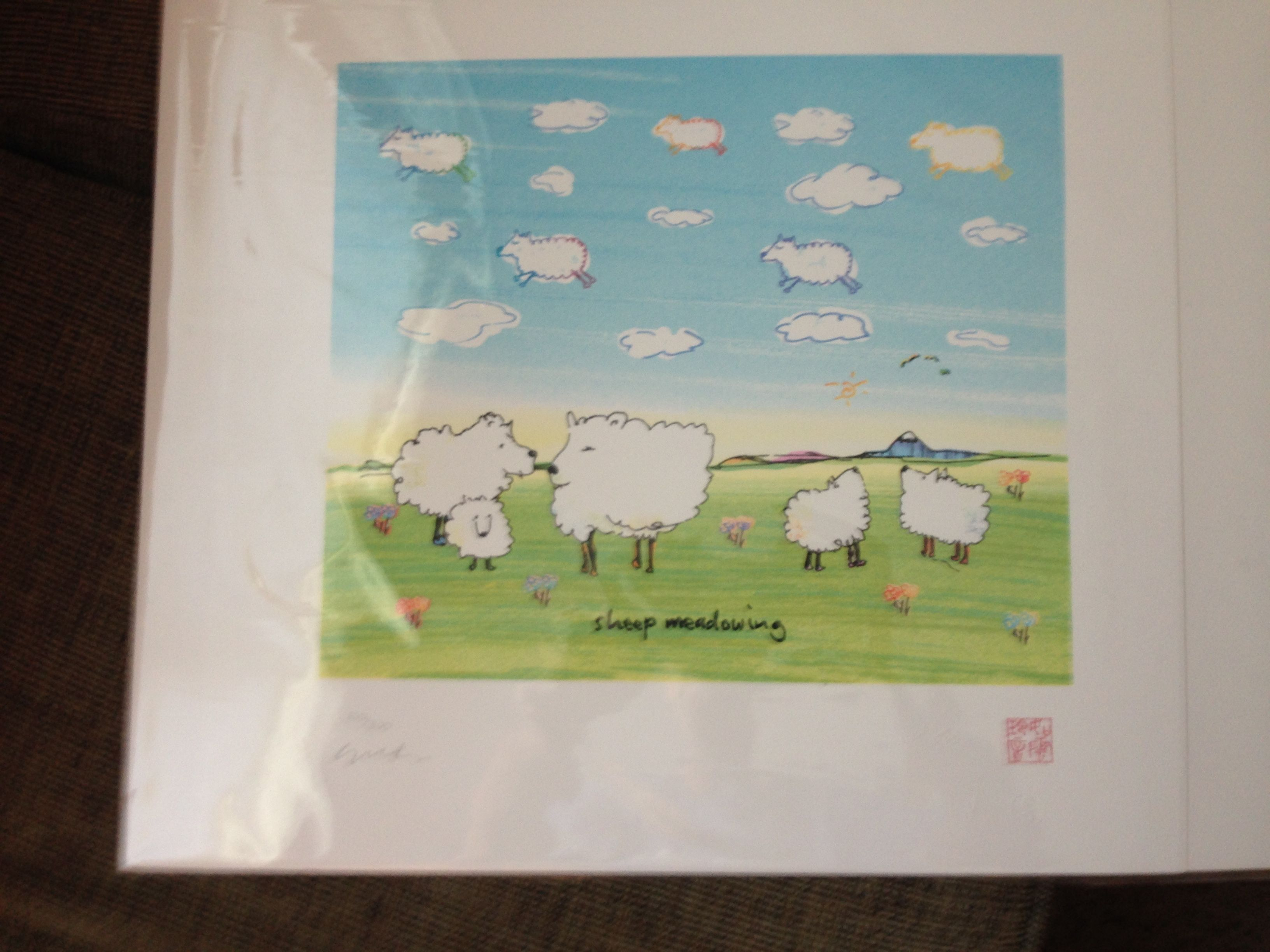 John Lennon Sheep Meadowing 1970-1980 14 X 15 inches