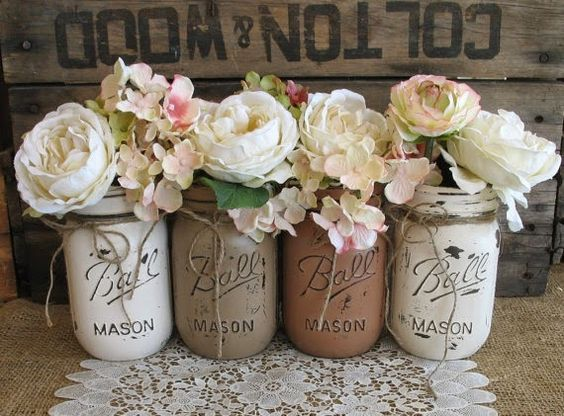 These Gorgeous Ombre Mason Jars Are Easy To Make Using Just Acrylic Craft Paint And A Clear Sealer It S Mason Jar Diy Distressed Mason Jars Painted Mason Jars