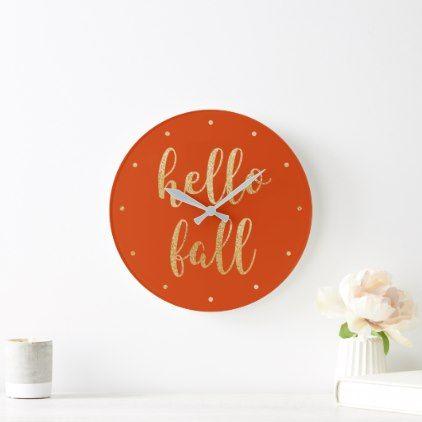 Hello Fall Orange Spice Gold Faux Foil Script Large Clock | Zazzle.com #hellofall