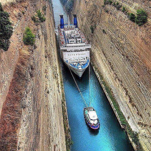 Cruise along the Corinth Canal Photo by Luxury Cruizer. #Exploringglobe by exploringglobe