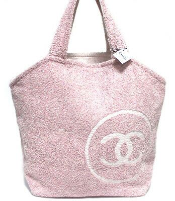 Details about CHANEL Beach Bag Pink Pile Weave 49131 free