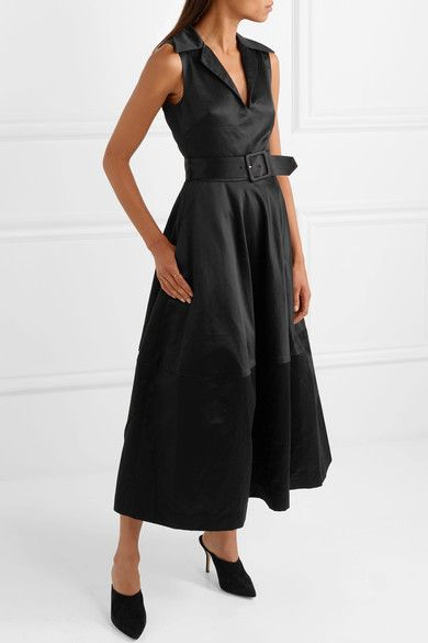 Belted Cotton-sateen Midi Dress - Black Co PfYHo5m