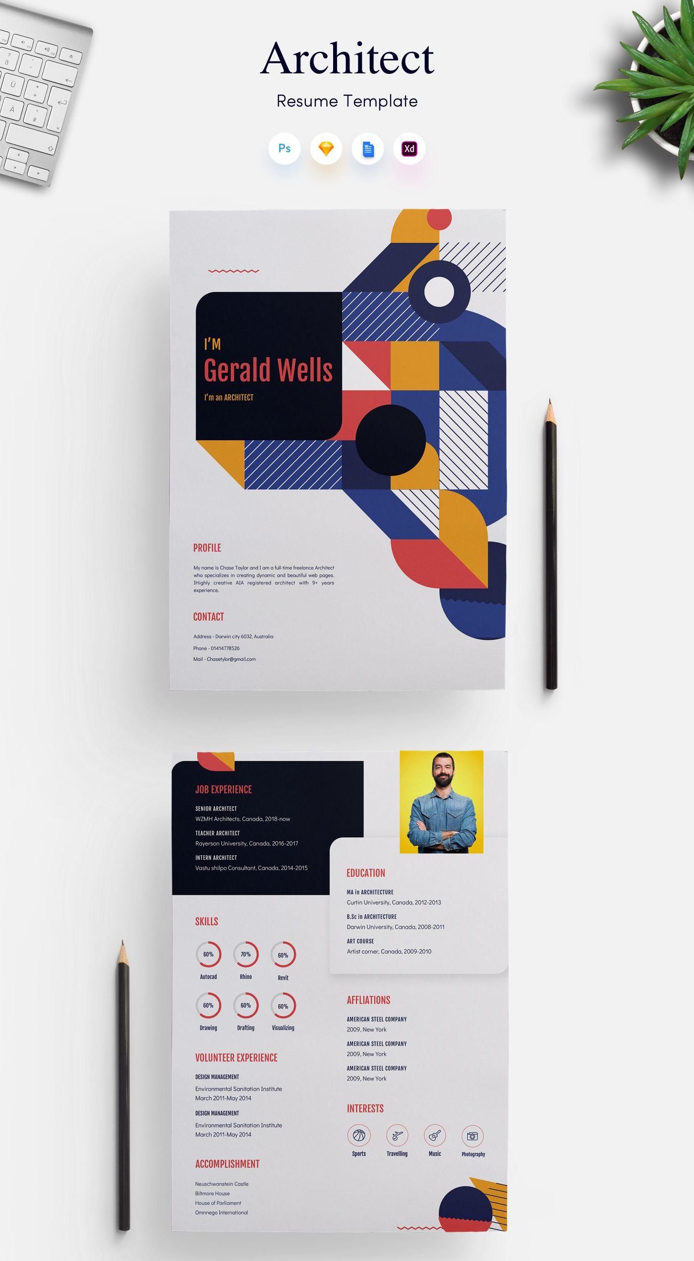 Architects CV/Resume Template Get PSD & Sketch Resume