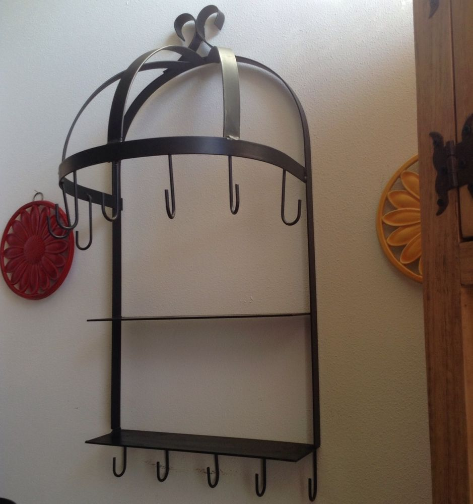 Wrought Iron Kitchen Accessories: Wall Mounted Semi-Circle Hanging Kitchen Pot Rack