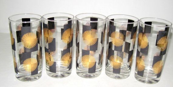 Atomic Era 1950s Highball Drinking Glasses by SlayleighJames, $85.00