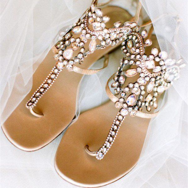 956571334de3 Gold Flip-Flops Wedding Sandals with Colorful Rhinestones image 1