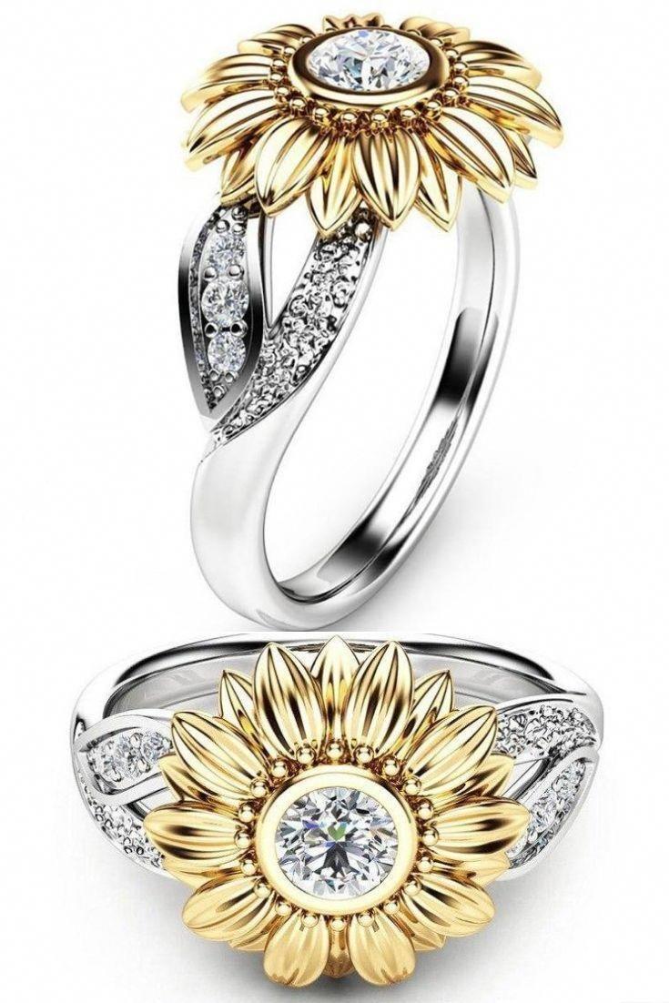 Blue Moissanite Engagement Ring White Gold Ring Unique