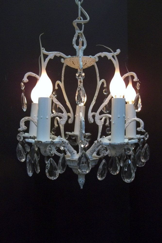 White Shabby Chic Crystal Chandelier Small 5 Light Swag Distressed Petite Dorm Apartment Dd 1196