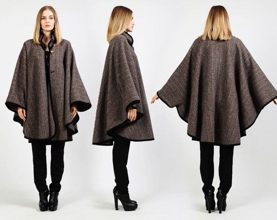 70s tweed wool military cape coat poncho | vintage finds ...