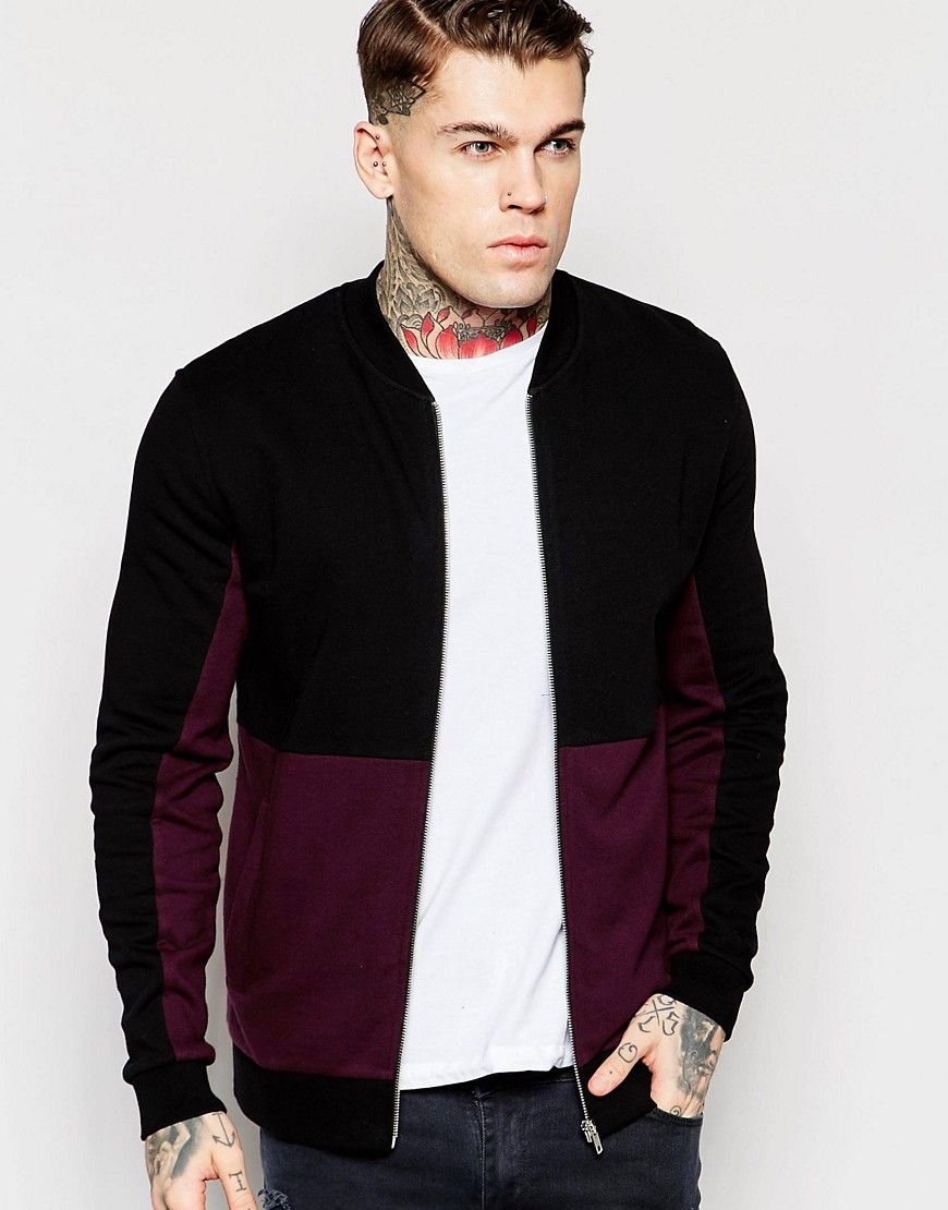 Men's fashion · ASOS Jersey Bomber Jacket With Cut & Sew In Burgundy