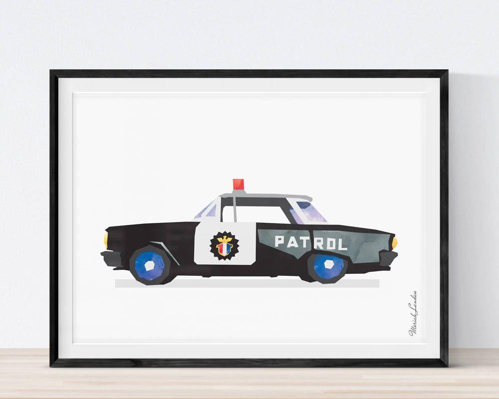 Police Wall Decor police car print, police wall art, police decor, transportation