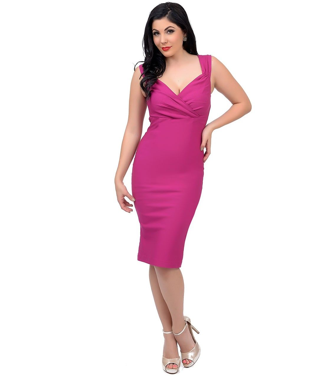 1950s Style Magenta Diva #PinUp Dress #uniquevintage | suit dress ...