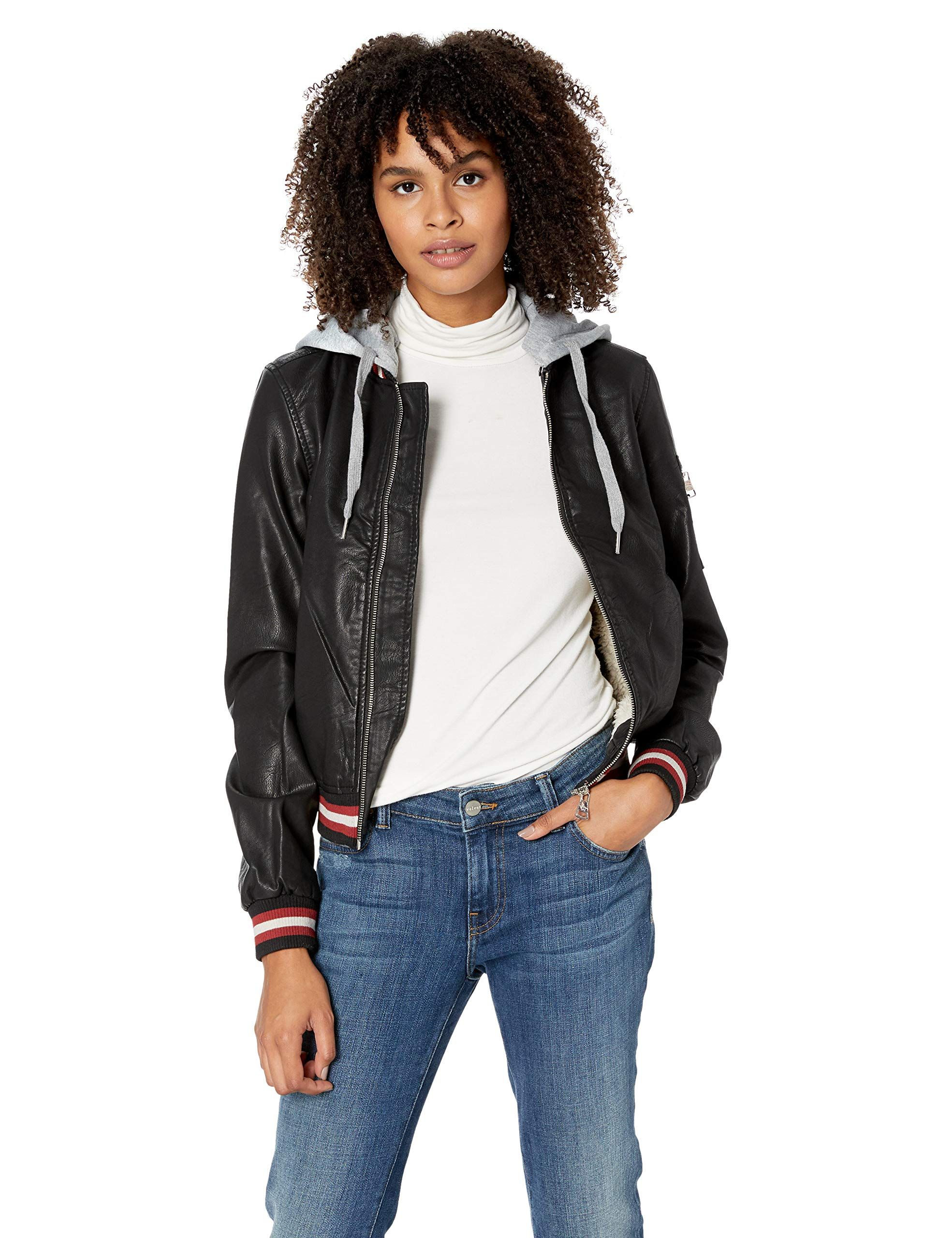 Madden Girl Womens Faux Leather Bomber Jacket (With images