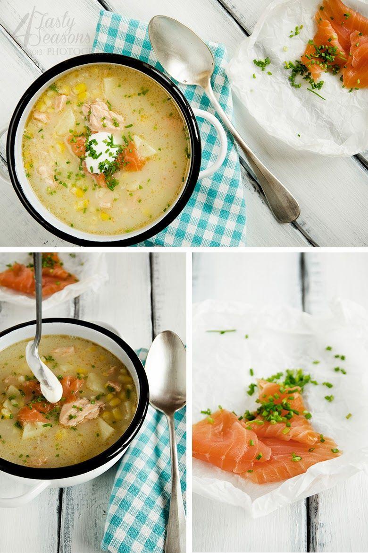 Potato corn soup with salmon
