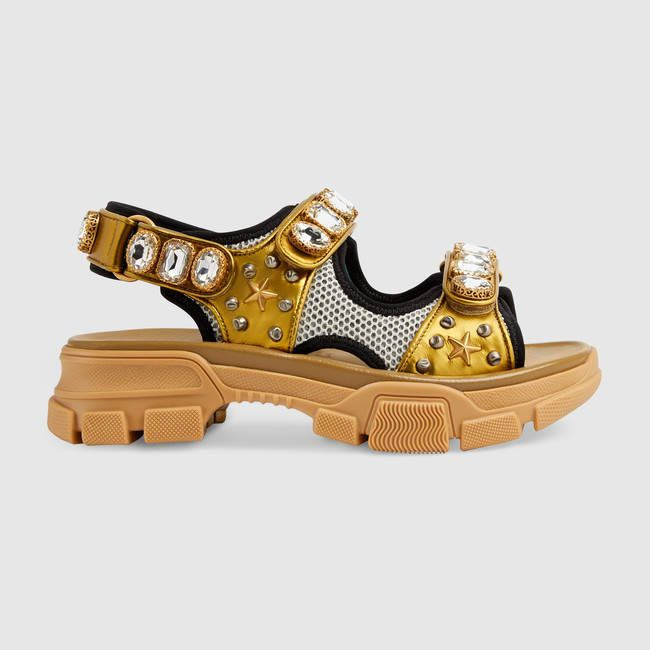Women's Sandals | GUCCI® US #metallicleather