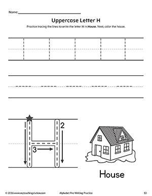uppercase letter h pre writing practice worksheet fine motor skills tracing pinterest. Black Bedroom Furniture Sets. Home Design Ideas