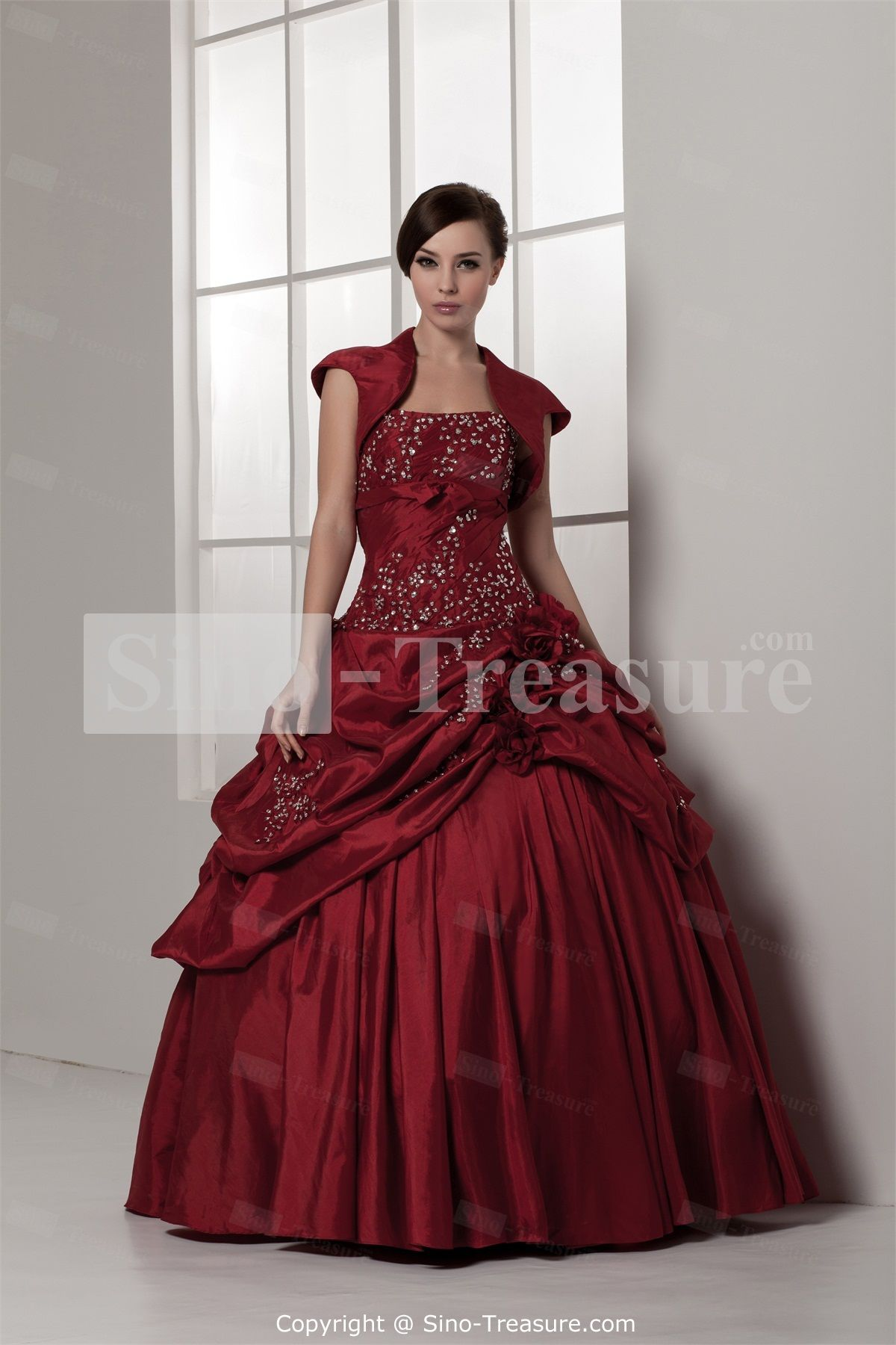 Beautiful Satin/Taffeta Beading Floor-Length Sleeveless Prom Dresses -Wedding & Events-Special Occasion Dresses-Prom Dresses