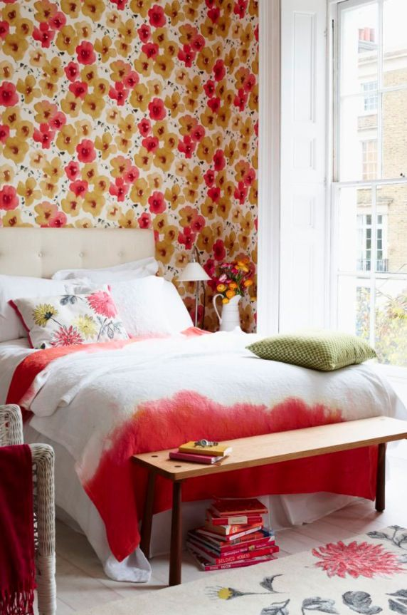 stunning coral beach bedroom | A stunning wallpaper in coral and yellow creates a show ...