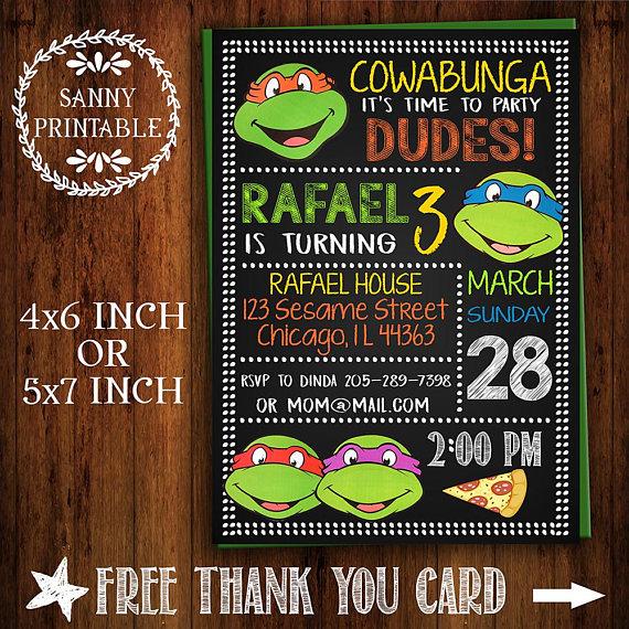 Ninja Turtles Invitation TMNT Invite Chalkboard Turtle Party Printable Free Thank You Card
