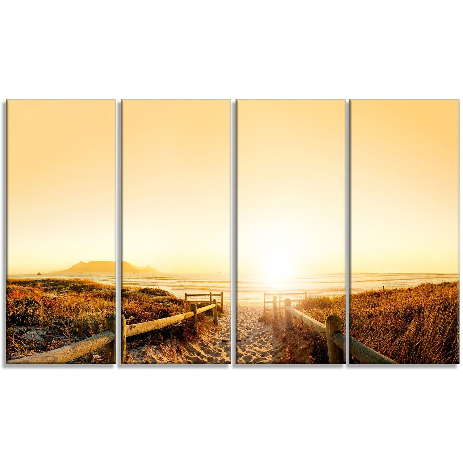 Beach near Cape Town Panorama 4 Piece Photographic Print on Wrapped ...