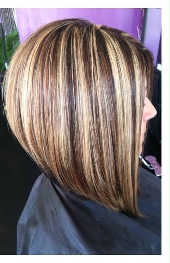 Long Bob Haircut Chunky Highlights Mocha Lowlights