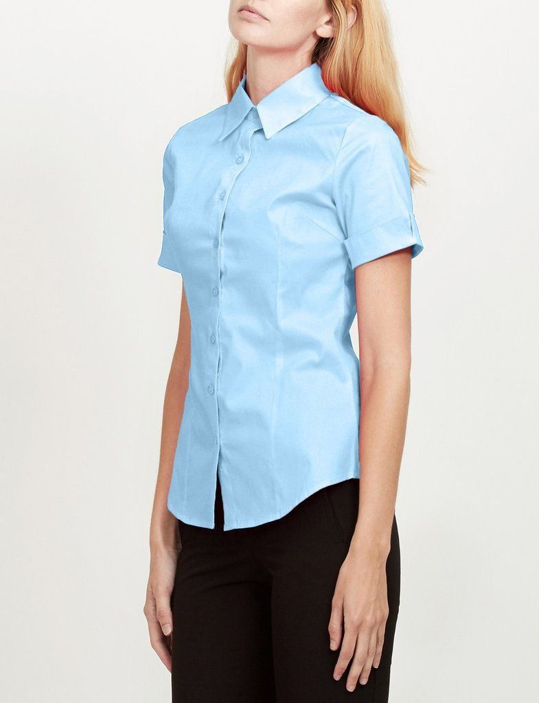 556cf85b1df6 Le3no Womens Tailored Short Sleeve Button Down Shirt With Stretch ...