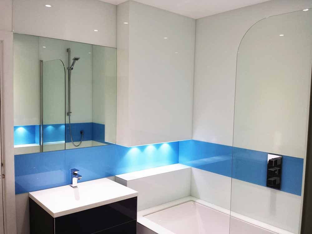 Bathroom glass splashbacks and glass cladding | Glass splashbacks, Glass  and Shower wall panels