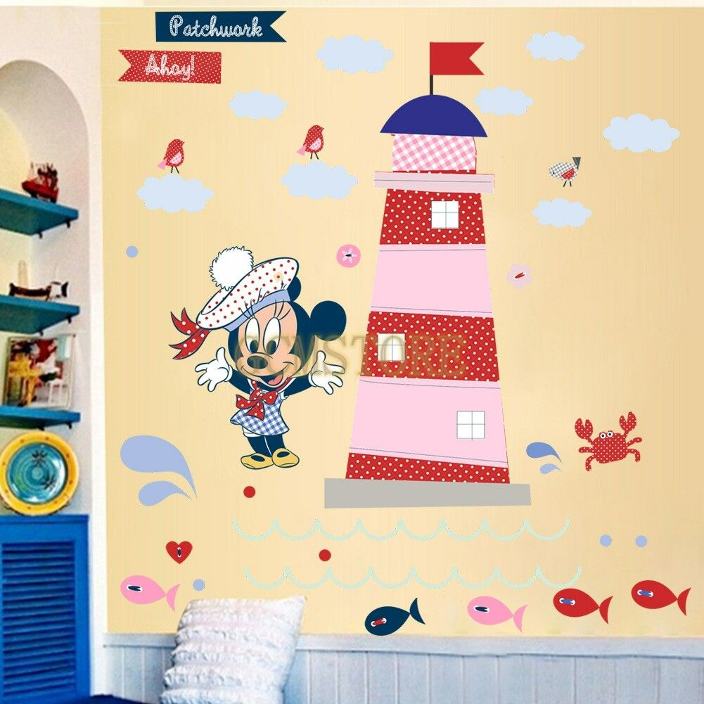 Disney DIY Minnie Beach & Pink Castle Wall Stickers #wallstickers ...