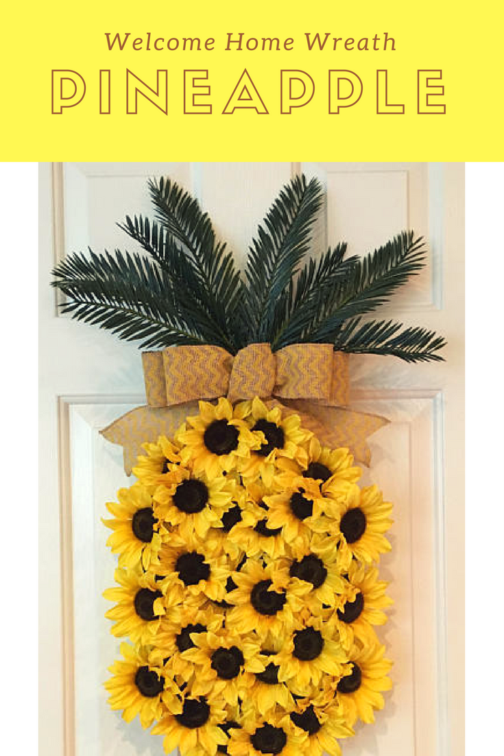 Adorable pineapple themed wreath just waiting to welcome your guests!
