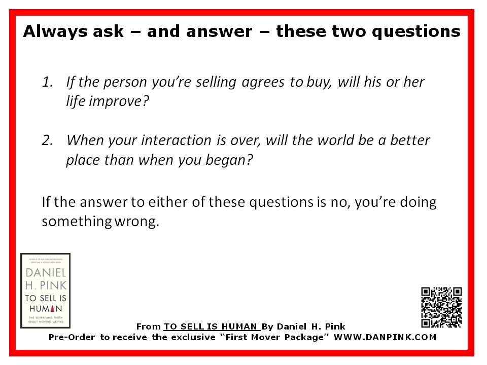 Some words of wisdom from TO SELL IS HUMAN by Dan Pink - phone number template