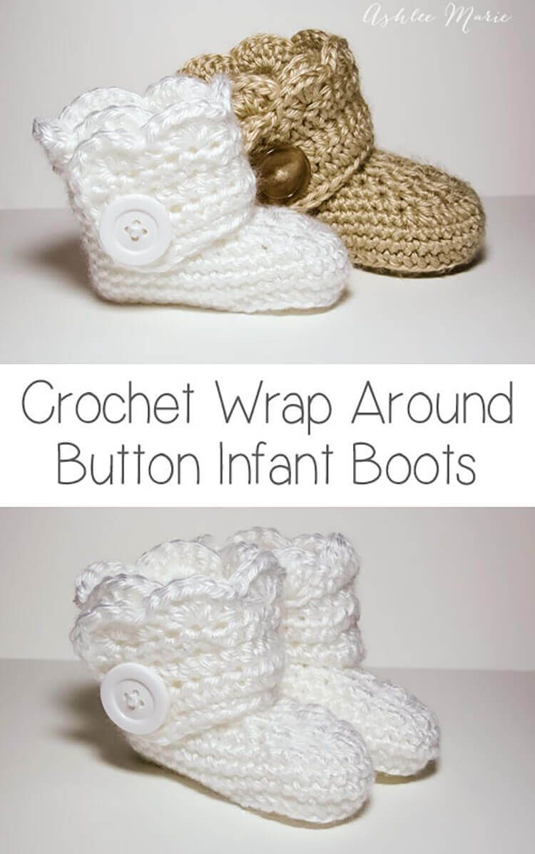 free crochet pattern from these wrap around button booties, infant ...