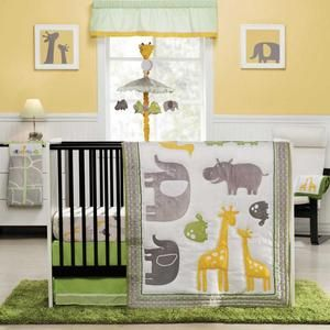 Gray Yellow Lime Bedding Set Crib In The Middle Of Room