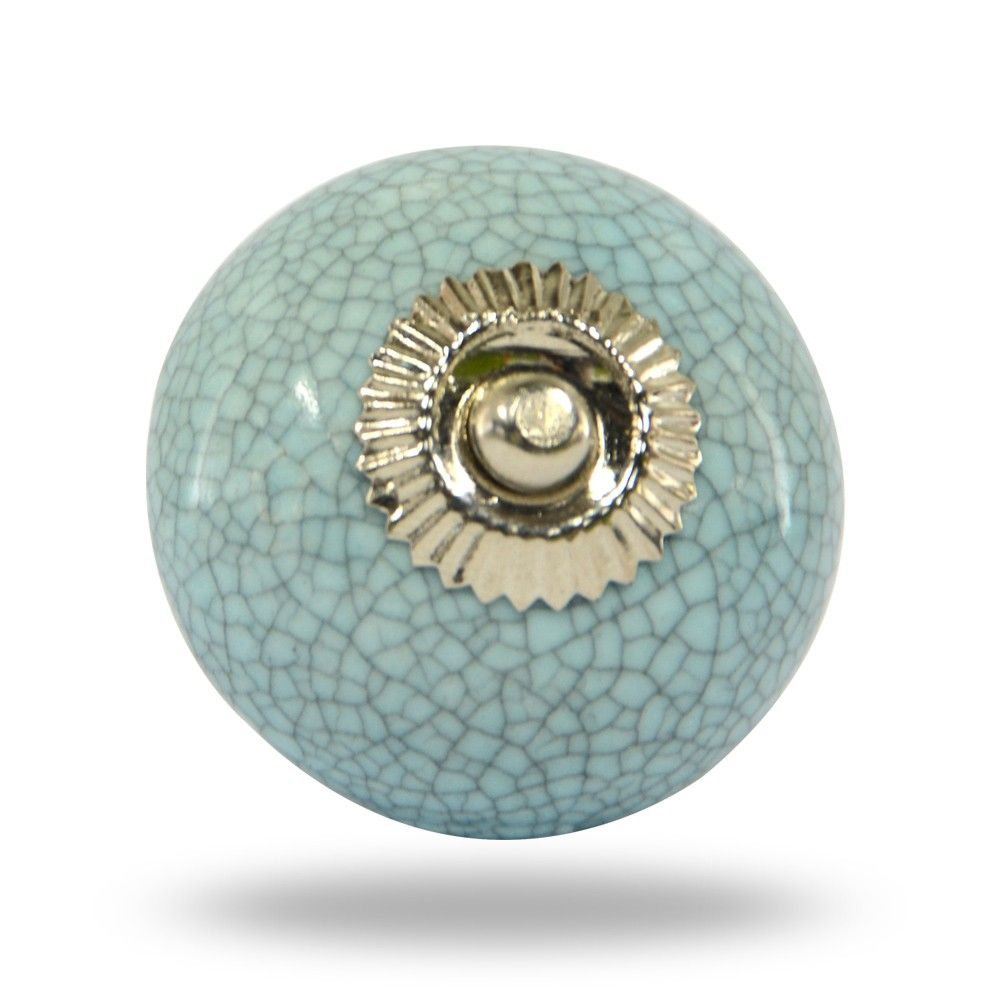Ceramic Light Blue Crackle Knob with Chrome Hardware | Ceramic light ...